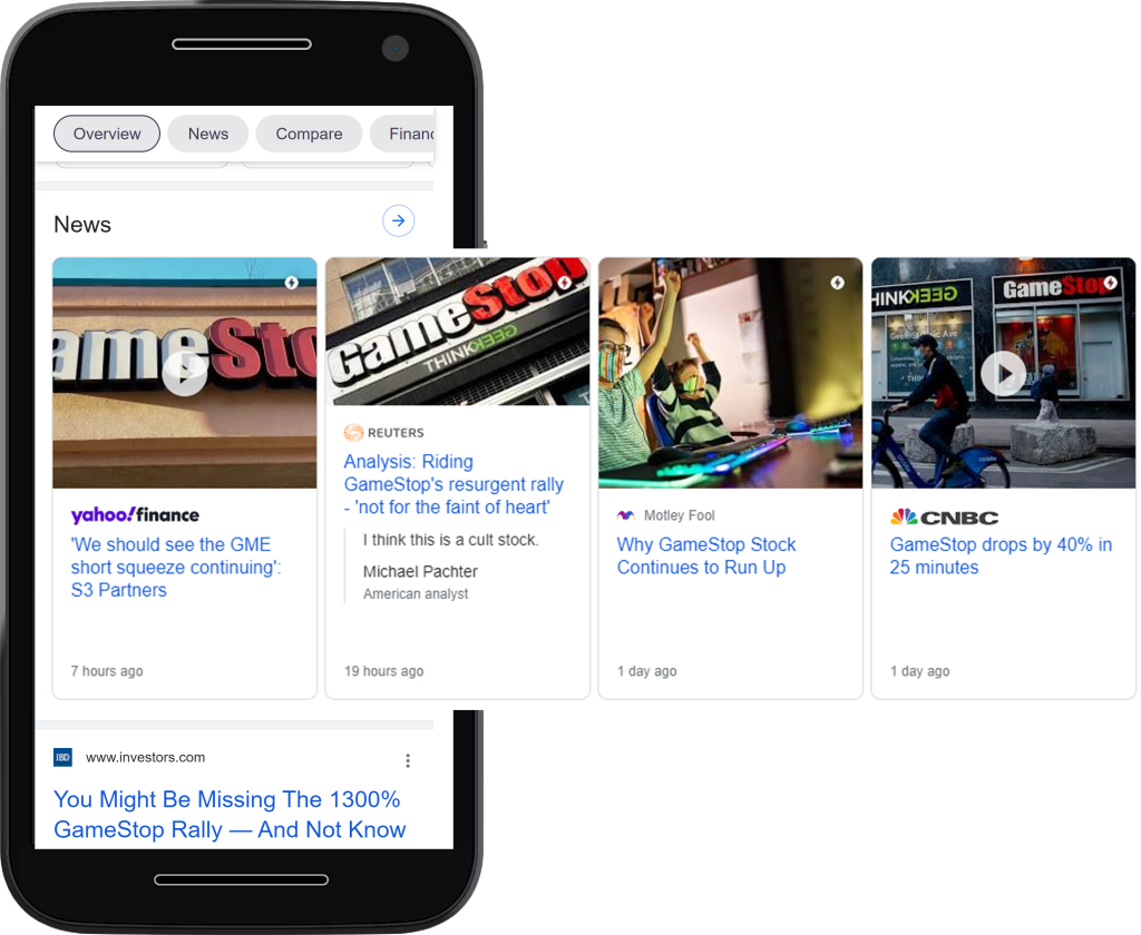 Example of Google AMP carousel
